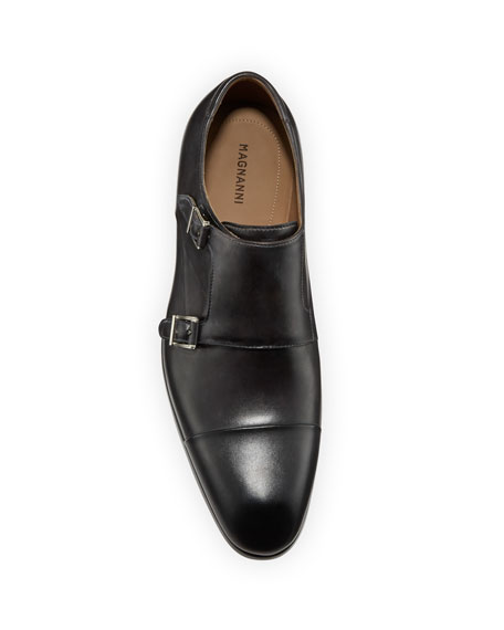 Magnanni for Neiman Marcus Men's Boltilux Super-Flex Leather Double Monk Loafers