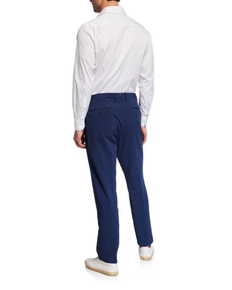 Incotex Men's Matty Wool/Silk Seersucker Straight-Leg Trousers