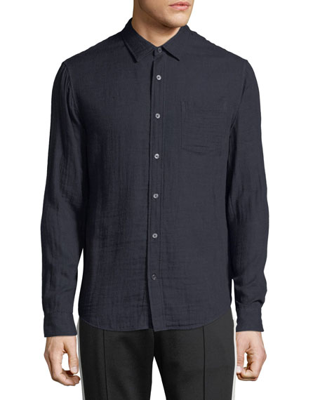 Vince Men's Double-Face Cotton Button-Front Shirt