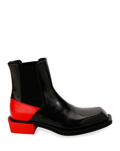 Alexander McQueen Men's Colorblock Leather Boots