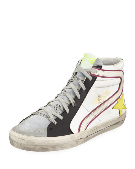 Golden Goose Men's Slide Colorblock Leather High-Top Sneakers