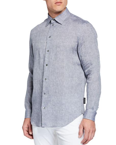 Emporio Armani Men's Linen Sport Shirt, Gray