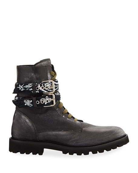Amiri Men's Bandana Leather Combat Boots