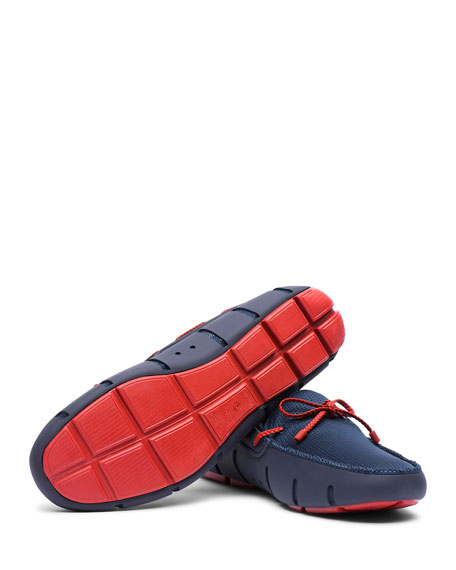 Swims Mesh & Rubber Braided-Lace Boat Shoes, Navy/Red Alert