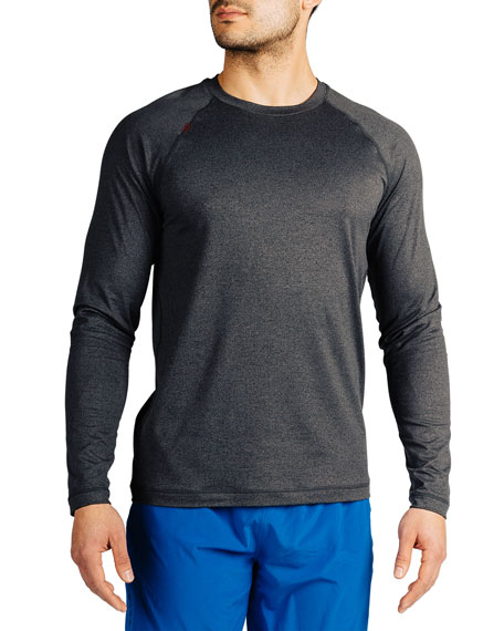 Rhone Men's Reign Heathered Long-Sleeve T-Shirt, Black