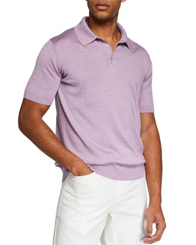 Men's Solid Silk/Cotton Short-Sleeve Polo Shirt
