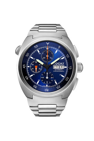 Tockr Watches Men's 45mm Air Defender Chronograph Stainless Steel Bracelet Watch, Blue