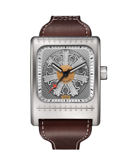 Tockr Watches Men's 52mm x 45mm Radial C-47W Leather Watch, Silver