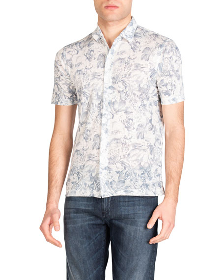 Isaia Men's Floral-Print Knit Linen Short-Sleeve Shirt