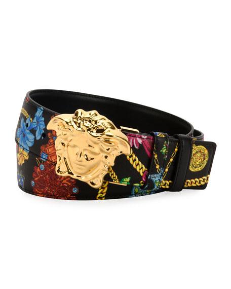 Versace Men's Floral-Print Medusa-Buckle Belt