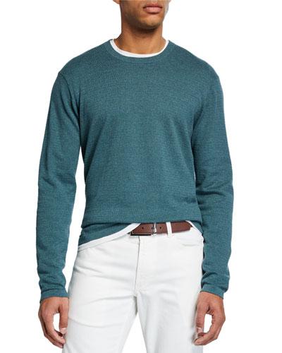 Men's Mini-Cable Cotton Crewneck Sweater