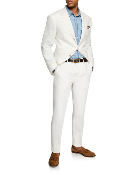 Image 3 of 6: Men's Chevron Panama Two-Piece Linen Suit