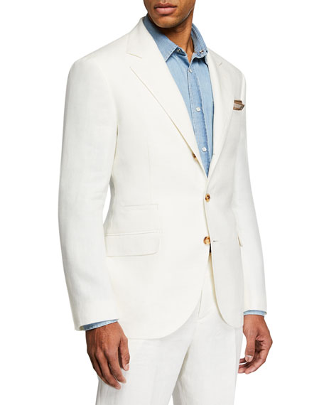 Image 1 of 6: Men's Chevron Panama Two-Piece Linen Suit