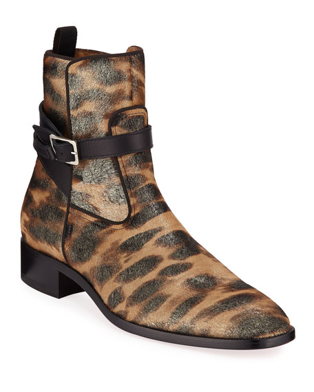 Image 1 of 4: Christian Louboutin Men's Kicko Leopard-Print Red Sole Boots
