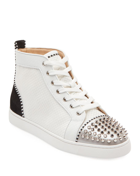 Christian Louboutin Men's Lou Spikes Mid-Top Sneakers
