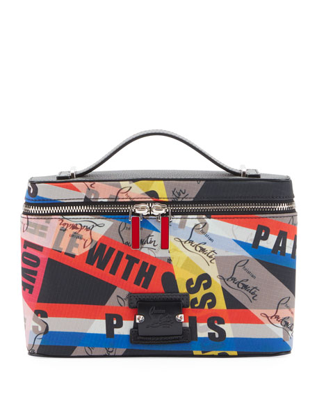 Christian Louboutin Men's Kypipouch Loubiballage Graphic Logo Travel Toiletry Case