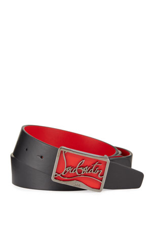Christian Louboutin Men's Ricky Leather Belt w/ Brass Logo Buckle