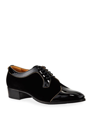 4aa59ca2bec6f Gucci Men's Thune Velvet Lace-Up Shoes w/ Patent Leather Trim