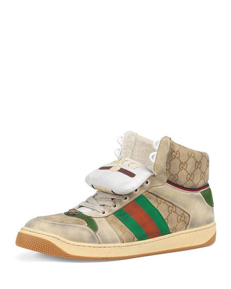 Gucci Men's Screener High-Top GG Canvas Sneakers