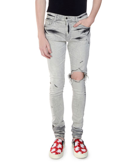 Amiri Men's Straight-Fit Distressed Broken Denim Jeans