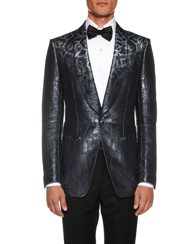 7842037f96 Men's Tonal-Print Satin Cocktail Dinner Jacket