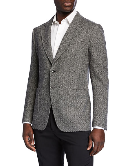 TOM FORD Men's Herringbone Cashmere-Blend Two-Button Jacket