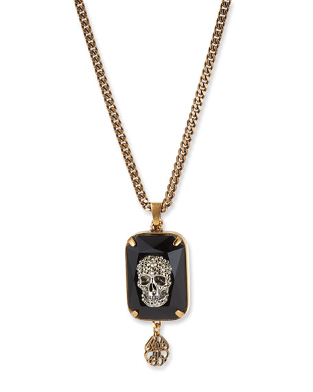 Image 2 of 2: Men's Swarovski® Crystal Skull Necklace
