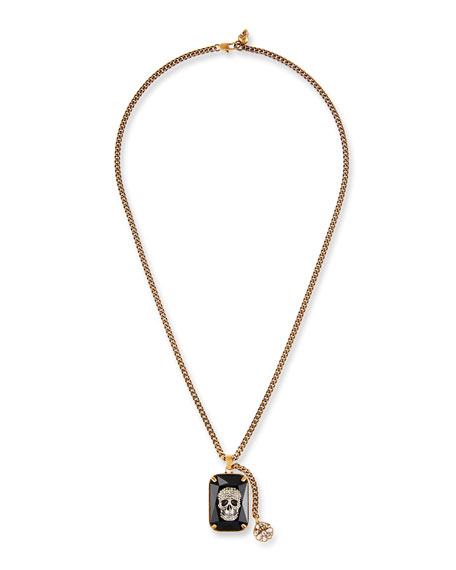 Image 1 of 2: Men's Swarovski® Crystal Skull Necklace