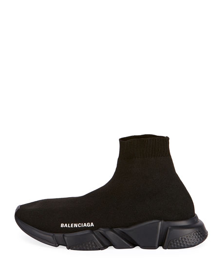 Balenciaga Men's Logo Speed Sneakers with Tonal Rubber Sole