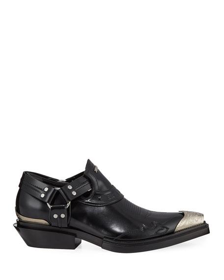 Balenciaga Men's Santiag Harness Leather Loafers