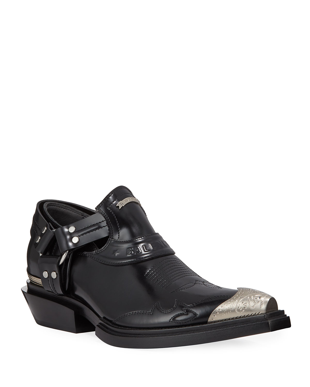 d0de506ac08be Balenciaga Men's Santiag Harness Leather Loafers | Neiman Marcus