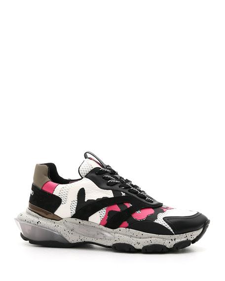 Valentino Men's Bounce Camo Leather Sneakers
