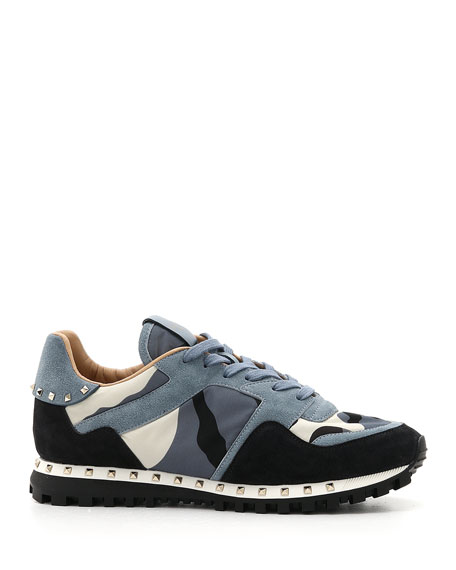Valentino Men's Rockrunner Camo Leather Sneakers, Black/Blue