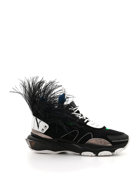 Valentino Men's Runway High Bounce Feather Sneakers
