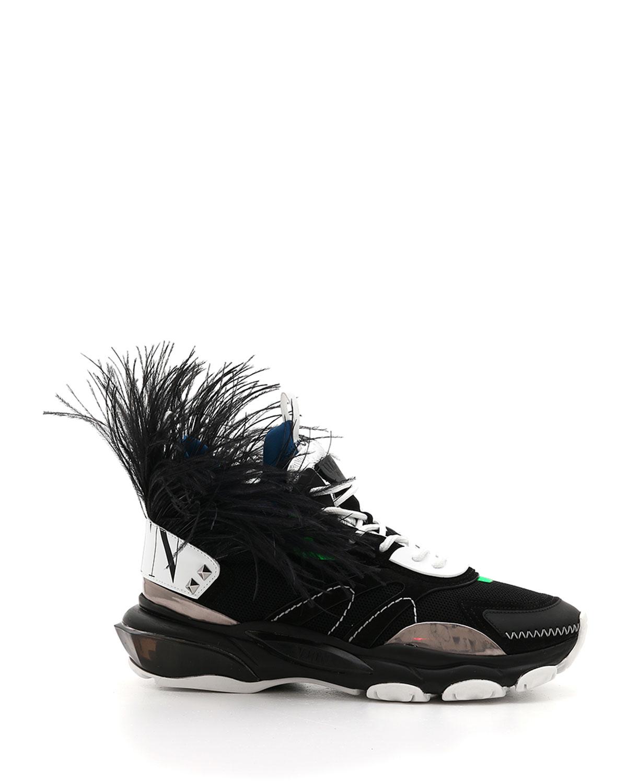 603e819b2b485 Valentino Men's Runway High Bounce Feather Sneakers | Neiman Marcus