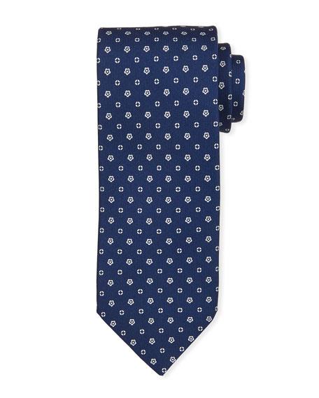 Bigi Small-Flower Silk Tie, Blue