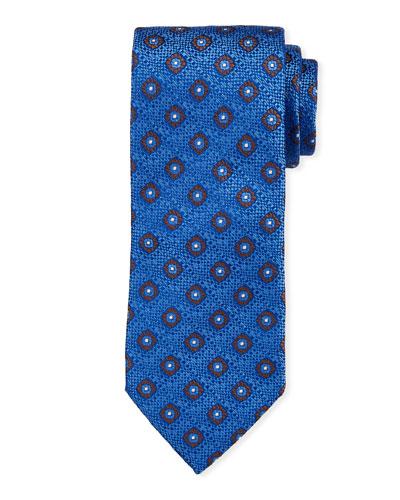 Floral Pattern Silk Tie  Blue