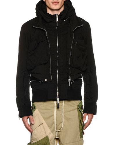 Men's Military Jersey Bomber Jacket