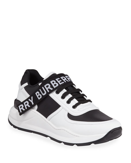 Burberry Men's Ronnie Logo-Strap Leather Sneakers