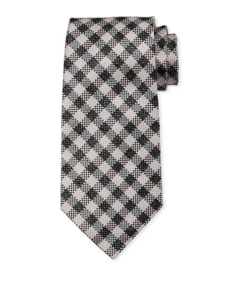 TOM FORD Gingham Plaid Silk/Linen Tie, Gray