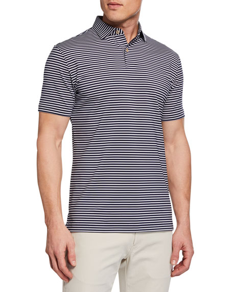 Peter Millar Men's Short Sleeve Miles Stripe Sean Polo Shirt