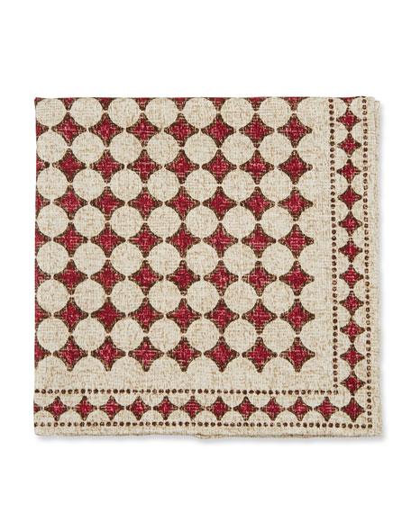 Brunello Cucinelli Printed Silk/Cotton Pocket Square