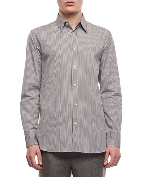Image 1 of 2: THE ROW Men's Ahmet Striped Sport Shirt