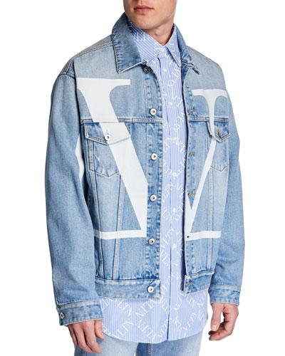 Men's Logo-Front Jean Jacket