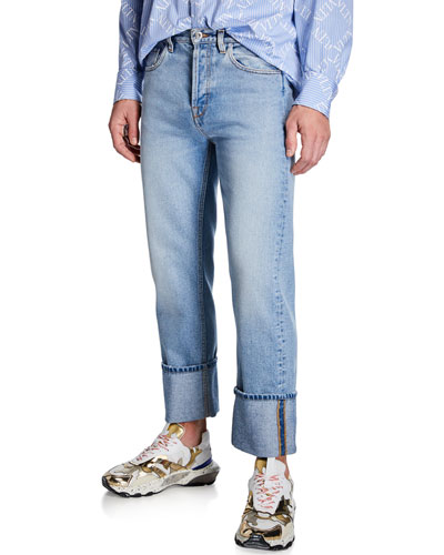 Men's Loose-Fit Cuffed-Hem Jeans