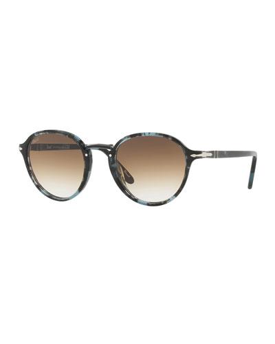 Men's Round Tortoiseshell Acetate Sunglasses