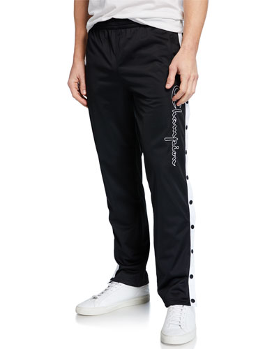 Men's Straight-Leg Logo Track Pants with Side Snaps