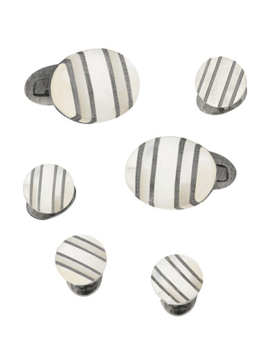 Oval Mother-of-Pearl Cufflinks & Studs Set