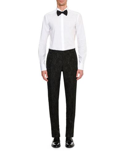 Men's Peak-Collar Baroque Lace Evening Tuxedo