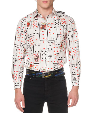 609b59e1308 Balenciaga Men s Shrunken Cards-Print Sport Shirt